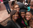 Aaliyah Tuitt, science, Anya Tuitt, Asha Tuitt, and Sequoyah Survia, take a selfie after the Commencement Ceremony in Kay Yeager Coliseum Dec. 12, 2015. Photo by Francisco Martinez
