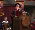 Suzanne Shipley, university president, welcomes the graduates and audience members at the Commemcement Ceremony in Kay Yeager Coliseum Dec. 12, 2015. Photo by Francisco Martinez