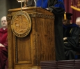 Retiring University President Jesse Rogers delivers the commencment address at Midwestern State University graduation, May 16, 2015 at the Kay Yeager Coliseum.