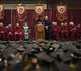 Provost Betty Stewart introduces the graduation speaker at Midwestern State University graduation, May 16, 2015 at the Kay Yeager Coliseum.