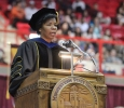 Betty Stewart, provost, introduces the guest speaker at Midwestern State University graduation, May 16, 2015 at the Kay Yeager Coliseum. Photo by Rachel Johnson