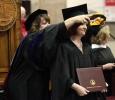 Melanie Sharp, nursing senior, receives her masters degree hood at Midwestern State University graduation, May 16, 2015 at the Kay Yeager Coliseum. Photo taken by Francisco Martinez