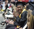 Jordan Branch, social work, gets excited as his row is about to be called up to go to the stage at Midwestern State University graduation, May 16, 2015 at the Kay Yeager Coliseum. Photo by Rachel Johnson