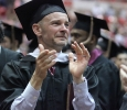David Owens, history, gets teary eyed during the part in the ceremony when the students applaud those who have encouraged them and supported them at Midwestern State University graduation, May 16, 2015 at the Kay Yeager Coliseum. Photo by Rachel Johnson
