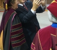 University president Suzanne Shipley stops to take a selfie with guest speaker James Frank at the Midwestern State University graduation Dec. 17, 2016. Photo by Brendan Wynne