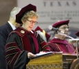 University President Suzanne Shipley addresses MSU graduates at the Midwestern State University graduation, Fall 2016. Photo by Jeanette Perry.