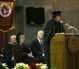 Provost Betty Stewart, who is leaving to be provost at UNT-Dallas in February, addresses the audience at Midwestern State University fall graduation Dec. 17, 2016. Photo by Brendan Wynne