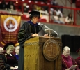 Provost Betty Stewart addresses graduates at the Midwestern State University graduation, Fall 2016. Stewart is leaving in February to be the provost at UNT-Dallas. Photo by Jeanette Perry.
