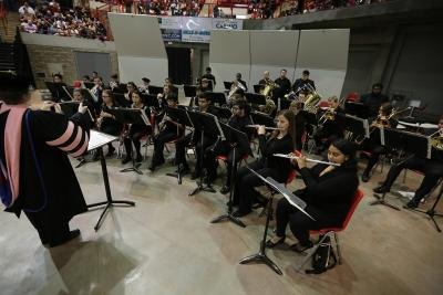 Members of the University Wind Ensemble perform at graduation, Dec. 16, 2017. Photo by Bradley Wilson