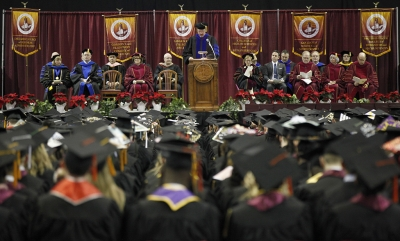 James Johnston, provost and vice president for academic affairs, speaks to guest and graduates during MSU's commencement ceremony at Kay Yeager Coliseum. Saturday Dec. 16, 2017. Photo by Francisco Martinez