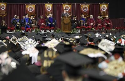 Ricahard Young, MSU alumni, addresses the guest and graduates during MSU's commencement ceremony at Kay Yeager Coliseum. Saturday Dec. 16, 2017. Photo by Francisco Martinez