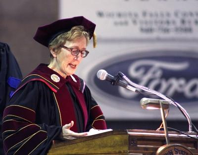 Suzanne Shipley, university president, speaks at the fall 2017 commencement at the Kay Yeager Colliseum on Sat. Dec. 16, 2017. Photo by Justin Marquart