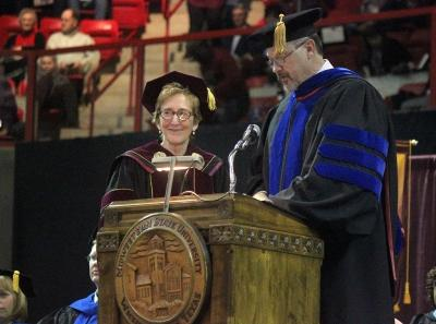 University Suzanne Shipley and Provost and Vice President for Academic Affairs James Johnston give the conferring of degrees before the presentation of 502 present graduates in Kay Yeager Coliseum, Sat. Dec. 16, 2017. Photo by Rachel Johnson