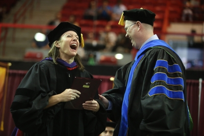Laura Fidelie received the Faculty Award at graduation, Dec. 16, 2017. Photo by Bradley Wilson