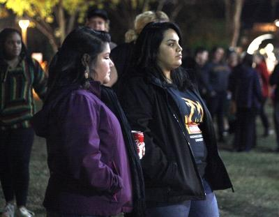 Norma Ramirez, assistant director of residence life, and Patricia Ramirez, bilingual education , at the MSU Burns Fantasy of Lights on the front lawn of the Hardin Building on Monday, Nov. 20, 2017. Photo by Justin Marquart