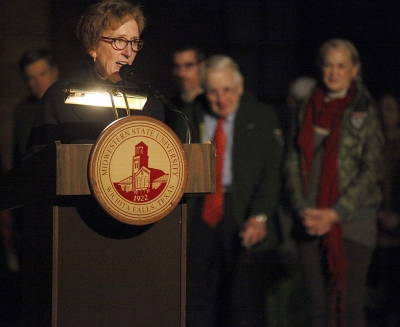 Suzanne Shipley, university president, address the guest during the MSU Burns Fantasy of Lights Opening Night at Akin Auditorium, Monday, Nov. 20, 2017. Photo by Francisco Martinez