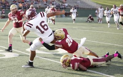 Jordan Meyers, sports and leisure studies senior, completes a tackle during the MSU vs West Texas A&M game at Memorial Stadium, MSU won 45-3, Saturday, Oct. 21, 2017. Photo by Francisco Martinez