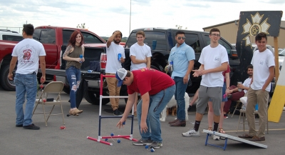Sigma Nu members play ladder ball at the homecoming tailgate on Saturday, Oct. 21, 2017. Photo by Shea James