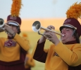 Trumpet player Tim Goff, a sophomore in music, performs at the Midwestern State football game, Aug. 31, 2017, against Quincy, Illinois. MWSU won 53-6 in the season opener. Photo by Bradley Wilson