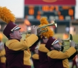 Dylan Blackwell, pre-medicine freshman, performs on his trumpet at the Midwestern State football game, Aug. 31, 2017, against Quincy, Illinois. MWSU won 53-6 in the season opener. Photo by Bradley Wilson