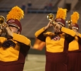 Computer science junior Cory Michener and other trumpet players perform at the Midwestern State football game, Aug. 31, 2017, against Quincy, Illinois. MWSU won 53-6 in the season opener. Photo by Bradley Wilson