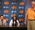 Athletic Director Charlie Carr introduces Brenna Moore, nursing senior, and Jeff Ray, golf coach, at a press conference with Moore discussing her national championship in golf, the first national NCAA championship won by a Midwestern State University athlete. Photo by Bradley Wilson