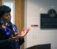 Former Provost Betty Stewart thanks the crowd after a room in Bolin was dedicated in her honor April 27. Photo by Bradley Wilson