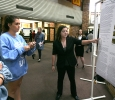 Meaghan Rose, biology senior, presents research on bacterial endophytic diversity with partner Salvator Capotosto, biology senior, during EUREKA on April 27. Photo by Arianna Davis