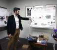 Abdullah Albakhurji, mechanical engineering senior, presents his research on a smarter parking system during EUREKA on April 27. Photo by Arianna Davis