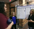 Sarah Kennedy, sociology junior, and Alexis Caldwell, psychology and sociology junior, present their research on sex education during EUREKA on April 27. Photo by Arianna Davis