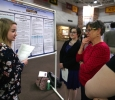 Elyssa Henderson, sociology junior, presents with partner Catherine Stepniak, psychology and sociology senior, on sexual attitudes and hook-up culture during EUREKA on April 27. Photo by Arianna Davis
