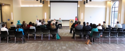 """A panel discussion is lead by Syreeta Greene, director of equity inclusion and multicultural affairs, on the topic of first ammendment rights on a college campus during Critical Conversations: """"Degrees of Freedom: Is Free Speech Free?"""" held in the Multi-Purpose Legacy Room where 25 people were in attendance. Photo by Rachel Johnson"""