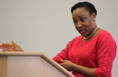 Syreeta Greene, director of equity inclusion and multicultural affairs, leads the panel discussion on first ammendment rights and freedom of speech on a college campus during Critical Converstaions held in Legacy Multi-Purpose Room, Monday Feb. 19, 2018. Photo by Rachel Johnson