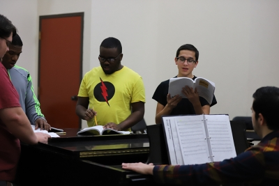 at the first rehearsal for Urinetown, Jan. 16, 2018. Photo by Bradley Wilson