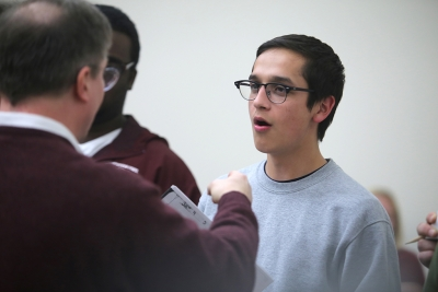Chris Cruz at the first rehearsal for Urinetown, Dec. 5, 2017. Photo by Bradley Wilson