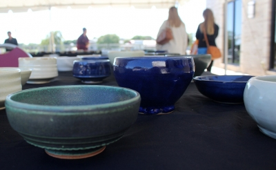 Outdoor exhibit of MSU donated bowls at Empty Bowls of Wichita Falls at Wichita Falls Museum of Art at MSU, Oct. 10, 2017. Photo by Francisco Martinez