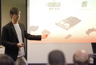 Ryan Fidlar, engineering senior, explains the components of the Raspberry Pi 3 and what is can measure during the Undergraduate Research and Creative Activity Forum in the Clark Student Center, Thursday, Nov. 16, 2017. Photo by Francisco Martinez
