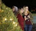 Aryn Edwards general business sophomore and Mallory Rice psychology junior enjoy seeing the peter pan display at the fantasy of lights. Photo by Topher McGehee