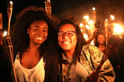 Scydayah Quest, sociology junior, and Denaijah Shaw, athletic training junior at the torch lighting. Oct. 19, 2017. Elias Maki