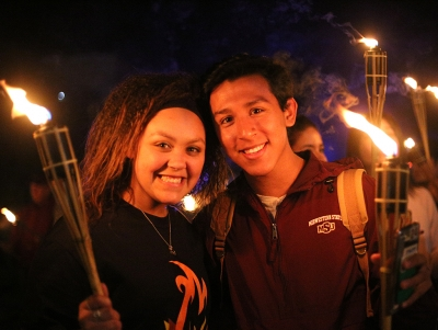 Keanna Jenkins, buisiness freshman, and Isaac Liguez, dental hygiene freshman at the torch lighting. 19th October 2017. Photo by Elias Maki