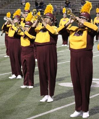 "The Golden Thunder band performs ""Changing Channels"" for the Texas A&M Commerce vs MSU football game held at the Memorial Stadium, Oct. 7. Photo by Marissa Daley"