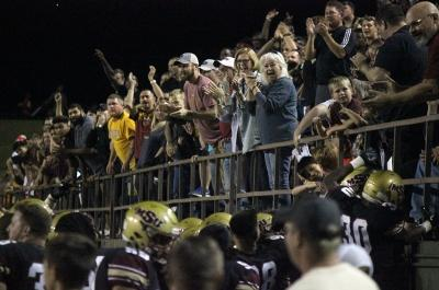 Crowd reacts after MSU scores a towchdown during the MSU vs Texas A&M Commerce game at Memorial Stadium,where MSU won 47-42, Oct 7, 2017. Photo by Francisco Martinez