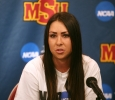 Brenna Moore, nursing senior, speaks at a press conference with Moore discussing her national championship in golf, the first nationalship won by a Midwestern State University athlete. Photo by Bradley Wilson