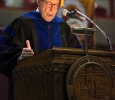 Jesse Rodgers, university president, welcomes people to at Midwestern State University fall graduation, Dec. 13, 2014 in Wichita Falls, Texas. Photo by Rachel Johnson