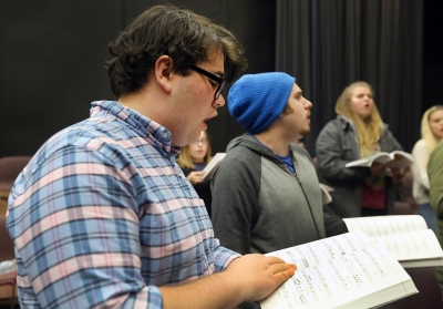 Steven Kintner at Jan. 17 rehearsal for the Midwestern State University production of Urinetown. Photo by Bradley Wilson