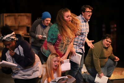 "at the Jan 17 rehearshal for ""Urinetown."" Photo by Latoya Fondren"