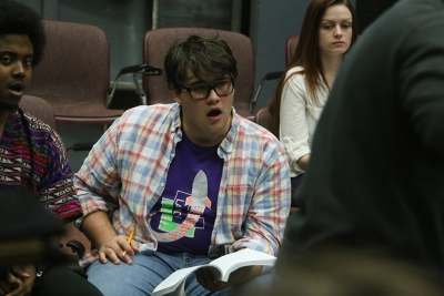 Steven Kintner at rehearsal for the Midwestern State University production of Urinetown. Photo by Bradley Wilson