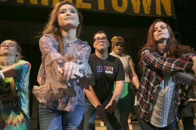"Steven Kintner and other cast members practice dance moves at ""Urinetown"" rehearsal Jan. 31. Photo by Bradley Wilson"