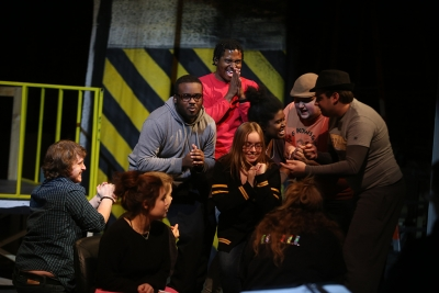 "at rehearsal for ""Urinetown"" Feb. 4, 2018. Photo by Bradley Wilson"