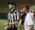 Bill Maskill, head football coach, yells at a n offical about a flag thrown after punt at the game between Midwestern State University and Texas A&M-Commerce, Saturday, Oct. 25, 2014 at Memorial Stadium. Photo by Lauren Roberts